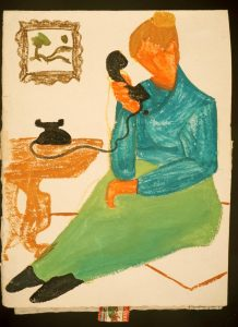 Christmas Greeting Card – Woman on Phone