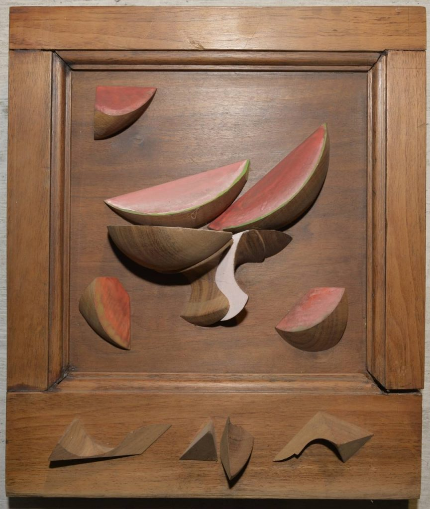 Watermelons on walnut