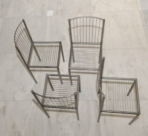 SUITE DE QUATRE CHAISE,METAL
