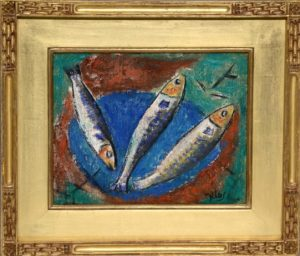 THREE FISH ON A BLUE PLATE